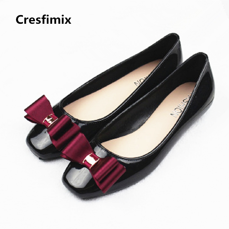 Cresfimix women casual spring and summer slip on flat shoes with bow tie lady cute jelly flats female soft comfortable shoes casual shoes women office ladies shoes lady cute bow tie pointed toe flats female cute spring