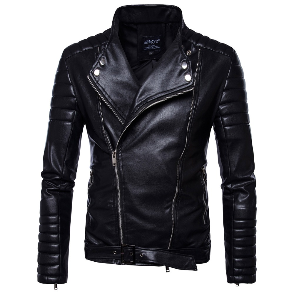 Dropshipping Black Vintage Jackets Mens Classic Retro Jacket Turn Down Collar Slim Faux Leather Biker Jacket Motorcycle Clothing