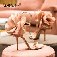 2019 sexy big flower women's sandals thin high heeled shoes buckle gladiator fashion pumps party nightclub wedding shoes pink 40