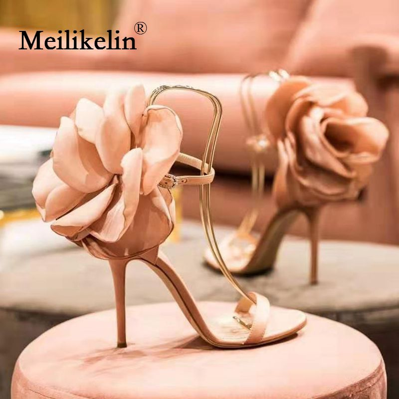 2019 sexy big flower women's sandals thin high-heeled shoes buckle gladiator fashion pumps party nightclub wedding shoes pink 40
