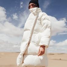 YNZZU Luxury 2018 Winter Jacket Women Casual White Mid-Long Duck Down Coat Loose Thicken Stand Collar Warm Outwears O680