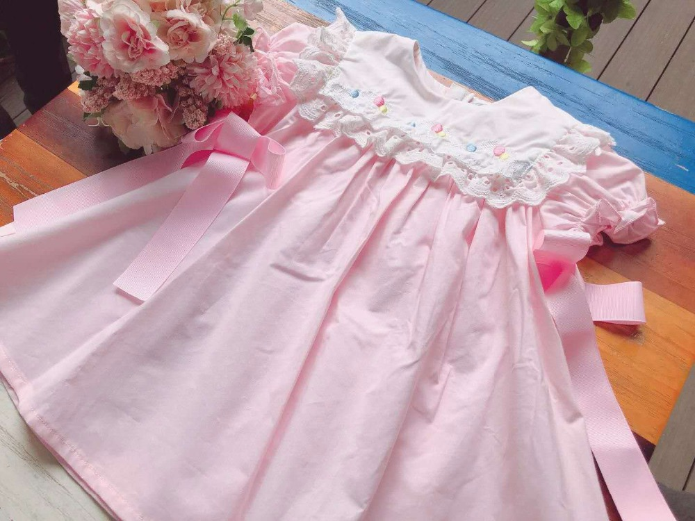 Summer girls princess dress embroidered lace collar sweet toddler baby dresses Summer girls princess dress embroidered lace collar sweet toddler baby dresses