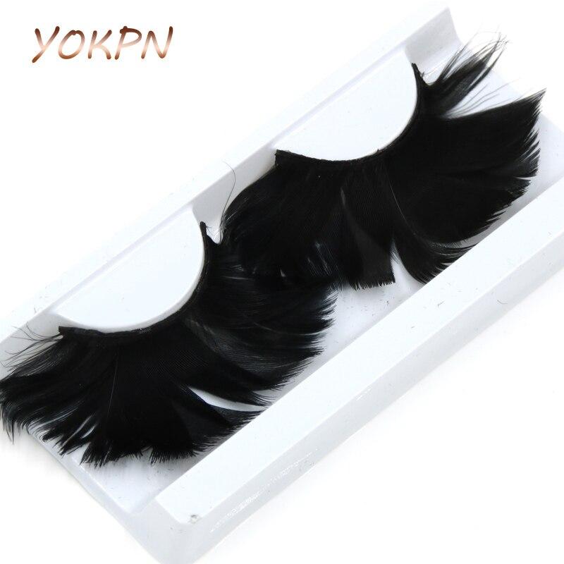 YOKPN 1 Pair Black Feather False Eyelashes Soft Feathers Exaggerated Stage Catwalk Art Fake Eyelashes Fashion Makeup Lashes