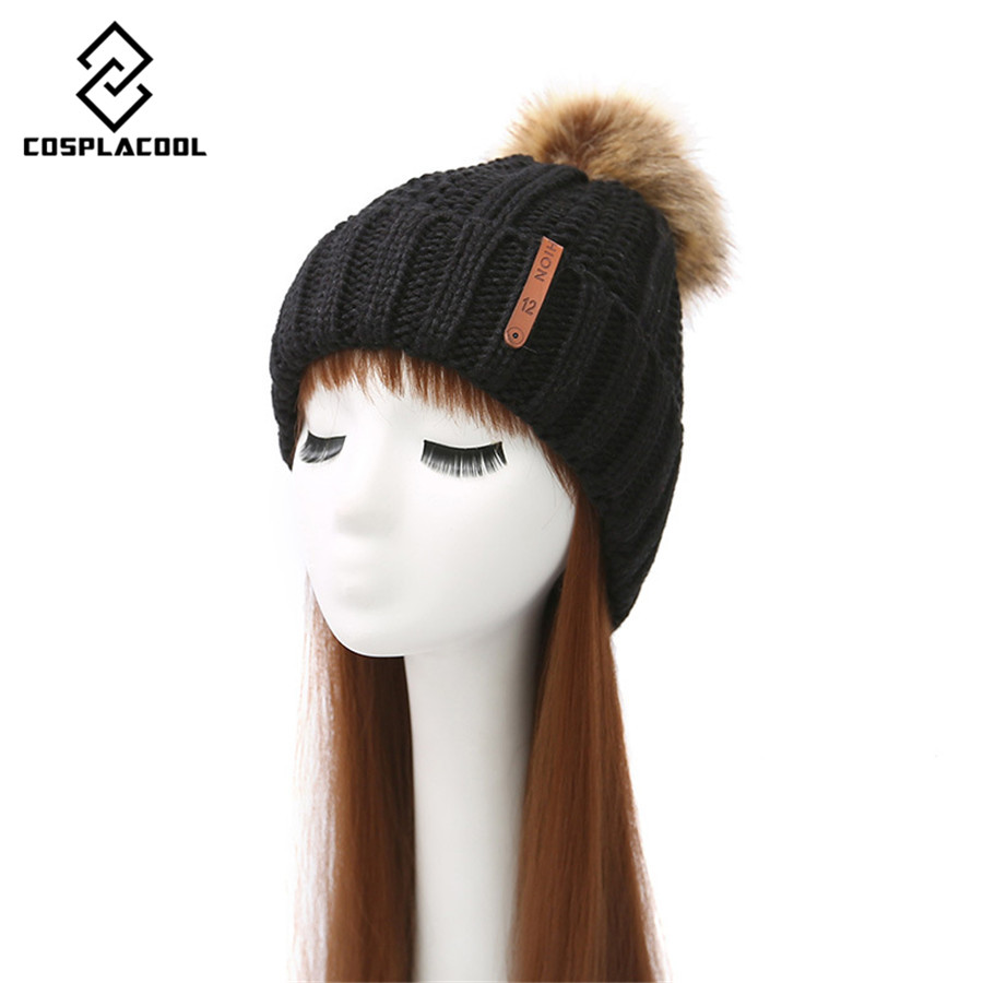 [COSPLACOOL] women's earmuffs and wool knitted cap fashion New winter hat Leisure leather standard bulb