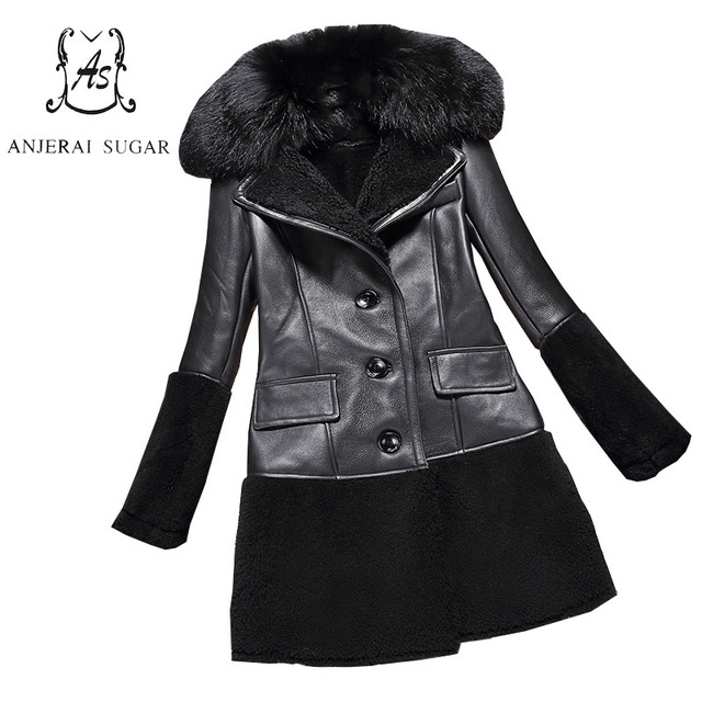 Women genuine Lamb Fur coat black colour real Sheep leather spliced winter jacket big fox Fur collar feminino natural fur coats