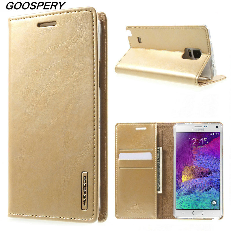 For Samsung Note 4 Case Original MERCURY GOOSPERY Blue Moon Leather Wallet Phone Cover Case for Samsung Galaxy Note 4 N910