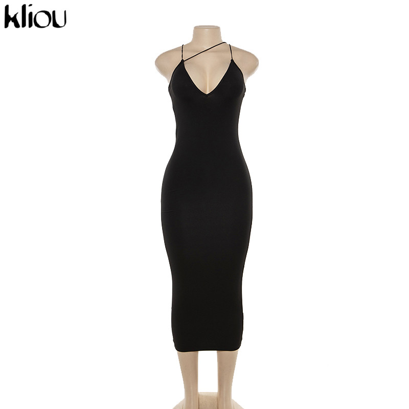 Kliou 2019 summer women sexy strap v-neck dress solid Neon color sleeveless skinny long dress female fashion vacation clothes 10
