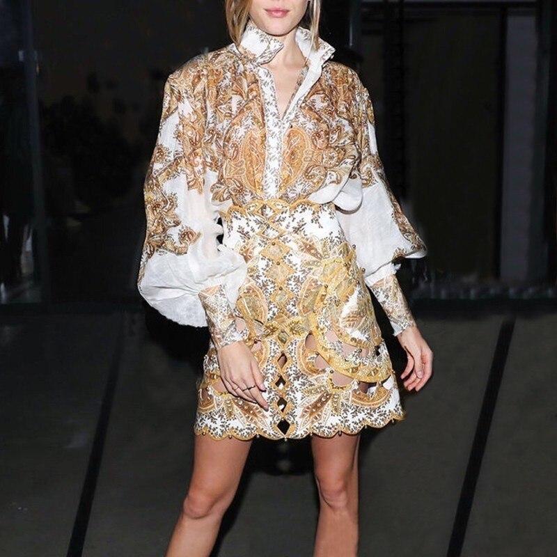 [LIVIVIO] Vintage imprimer Blouse pour les femmes col montant lanterne manches grande taille chemise femme mode vêtements 2019 été nouveau - 5