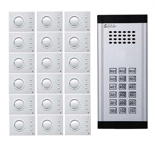 SMTVDP Intercom System Direct Press Key Audio Door Phone for 18 apartments 4-wired Audio Doorphone With Hand-free Indoor Units