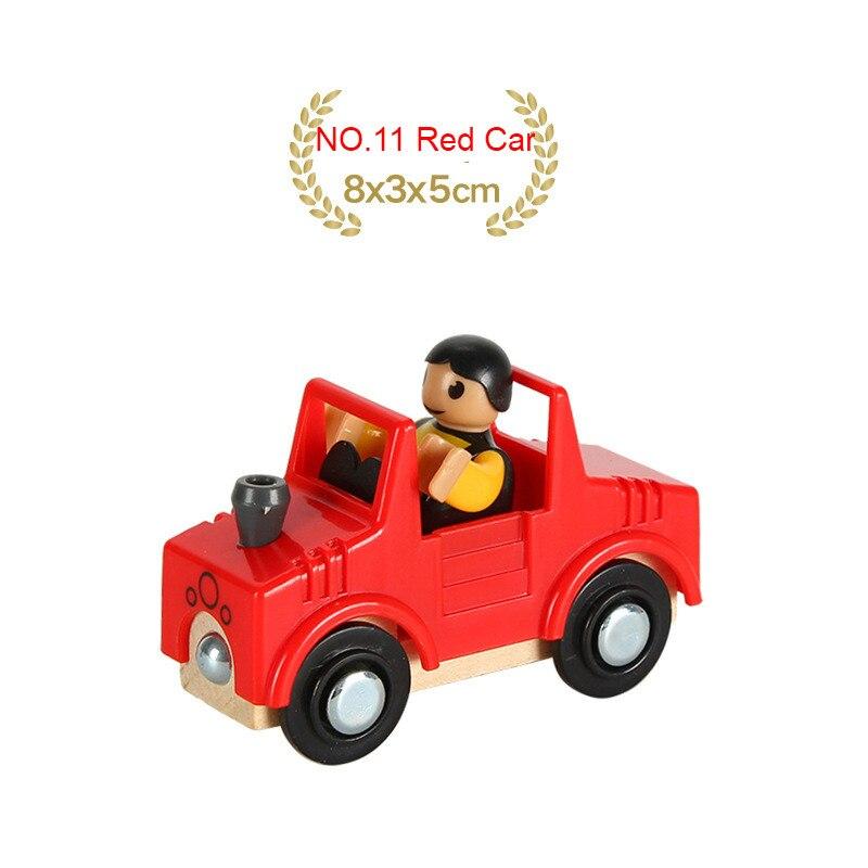 EDWONE деревянный магнитный Поезд Самолет деревянная железная дорога вертолет автомобиль грузовик аксессуары игрушка для детей подходит Дерево Biro треки подарки - Цвет: NO.11 Red Car