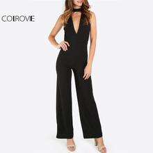 COLROVIE Elegant Double V Sleeveless Jumpsuit/ Catsuit