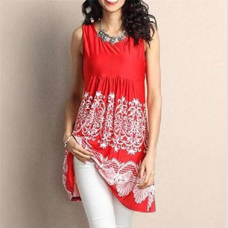 Модная женская летняя блузка с оборками и цветочным принтом, майка, Повседневная Туника без рукавов с круглым вырезом, топы женские блузки, большие размеры 5XL