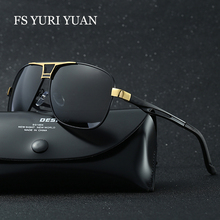 FS YURI YUAN Men Classic Polarized Rectangle Sunglasses HD Polarized Aluminum Driving Sun glasses Mens Luxury Brand oculos de so