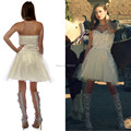 Free Shipping Sequins Sweetheart Sexy Backless Short Cocktail Dress 2016 Party Gown Cream Vestidos Para Festa Zipper Back Z51514
