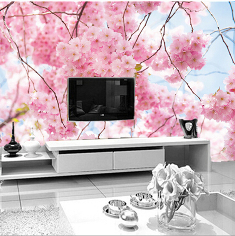 Latest custom 3D wallpaper, HD beautiful cherry ceiling murals papel de parede ,living room tv wall bedroom wallpaper custom ceiling wallpaper blue sky and white clouds landscape murals for the living room bedroom ceiling wall papel de parede