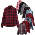 Mulheres Camisa Xadrez Blusa de Algodão De Manga Longa Preto Camiseta Femme Top Blazer Tartan Roupas blusas Plus Size 5XL CG112