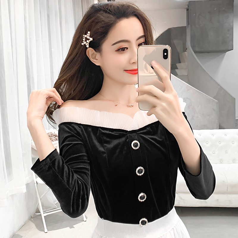 Women top new 2019 spring Vintage Women Shirts Lace Slim slash neck Velvet Fold Base Blouse Shirt Black long Sleeves 831J3 in Blouses amp Shirts from Women 39 s Clothing