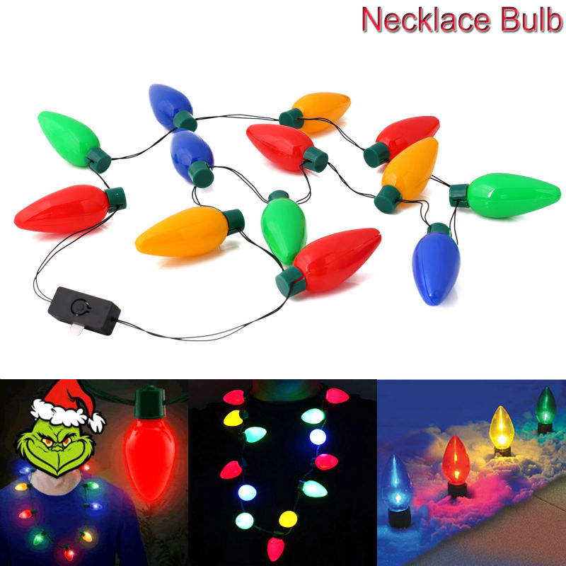 2017 New Year Gift Necklaces Led Light Up Bulbs Lamps 1pcs