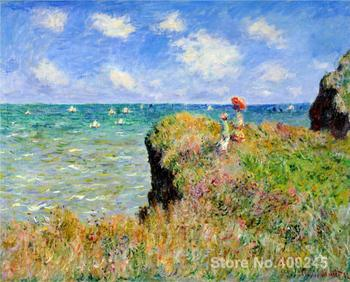 Clifftop Walk at Pourville Claude Monet painting for sale oil on canvas Hand painted High quality