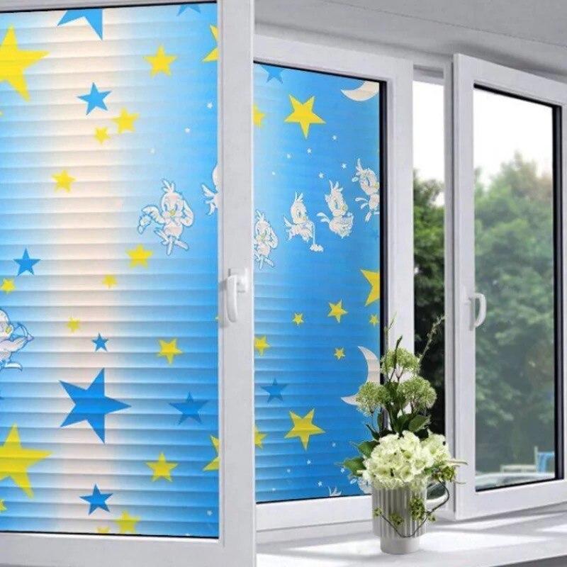Cartoon Star moon Windows sticker birds Opaque Film on Glass Sticker kids room self adhesive film Privacy Home Decor 80*200cm