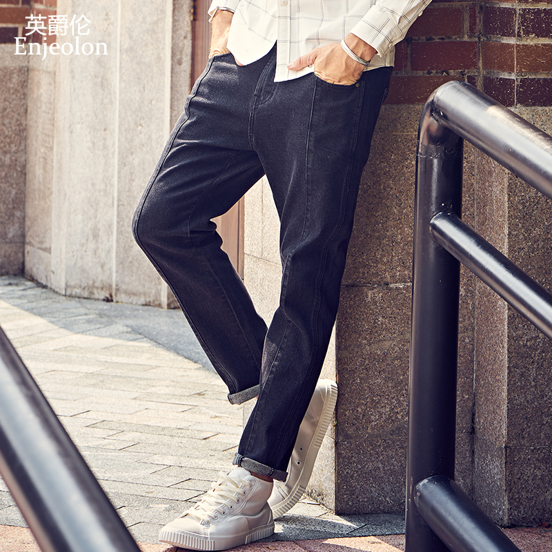 Enjeolon Brand Spring Quality Long Full Trousers Men Denim Jeans Cotton Black Solid Males Causal Jeans Male NZ072