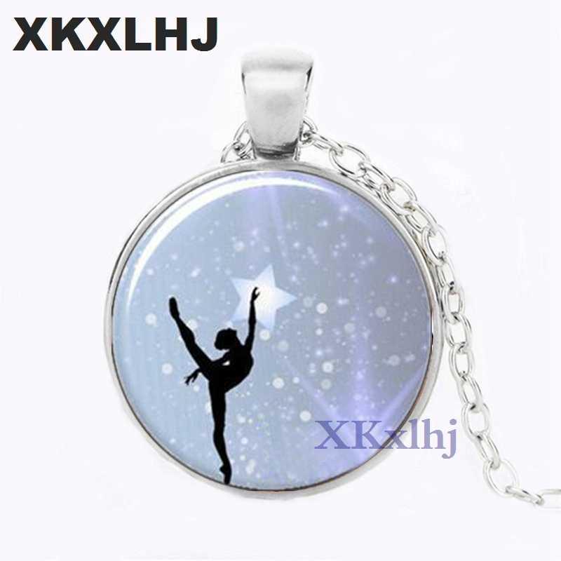 XKXLHJ ขายส่ง Art Glass จี้เต้นรำ Ballerina จี้ Ballerina แก้วโดมจี้แก้ว Cabochon สร้อยคอ