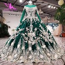 AIJINGYU Lange Modest Jurken Singapore Met Lange Staart Indonesië Plus Size Bruiden Kant WeddingGown Bridalwear