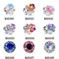 10 pçs/lote NEW 3D Gem Pedra Flores Encantos Das Unhas de Cristal Pérola Decorações Nail Art Glitter Pedrinhas Nails Abastecimento MA0490-MA0498
