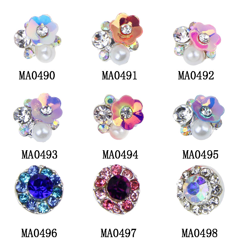 10pcs/lot NEW 3D Gem Stone Flowers Nail Charms Pearl Crystal Nail Art Decorations Glitter Rhinestones Nails Supply MA0490-MA0498 50 pcs set 3d nail art decorations glitters diy nail tools full rhinestones silver crown crystal nails studs1