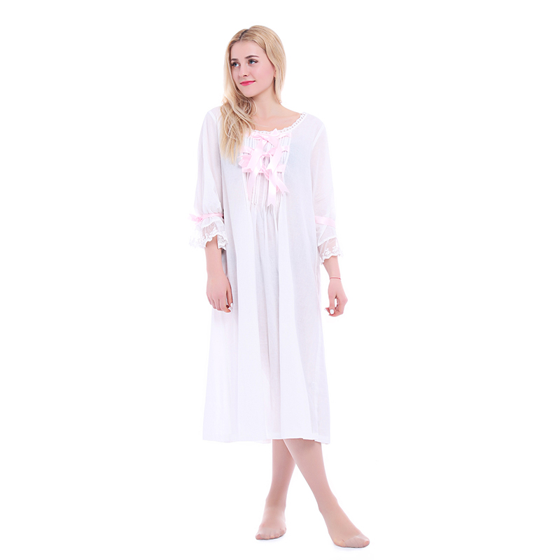 a7de8d926 ROLECOS Vintage Romantic Classic Princess Long Sleeve Cotton Sleepwear  Women Nightgowns with Bowknot Design Clothing-in Nightgowns   Sleepshirts  from ...