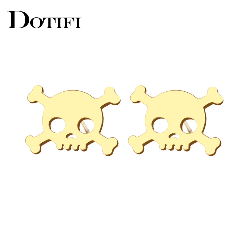 Dotifi Stainless Steel Stud Earring For Women Man Skull Gold And Silver Color Lovers Engagement Jewelry Drop Shipping Back To Search Resultsjewelry & Accessories
