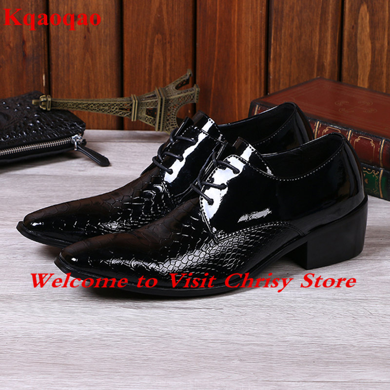 Black Leather Men Formal Dress Business Male Shoes Hommes Chaussures Low Top Lace Up Shoes Low Heel Super Star Brand Runway Shoe
