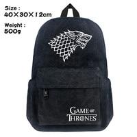 Game of Thrones Winter is Coming StarkBackpack Schoolbag Satchel Canvas Shoulder Laptop Bags For Fans Gift Double Zipper Mochila