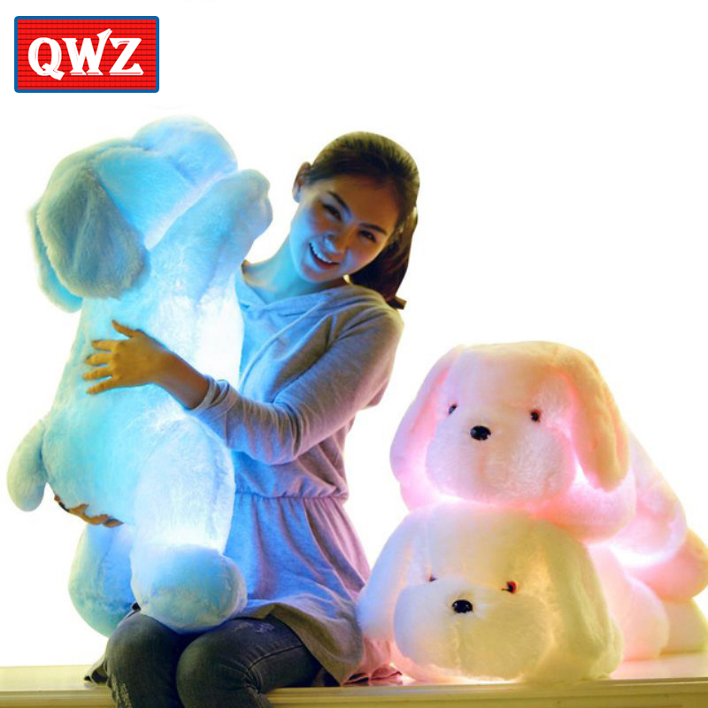 QWZ 50CM Length Creative Night Light Luminous LED Lovely Dog Stuffed and Plush Toys Best Gifts for Kids and Friends стоимость