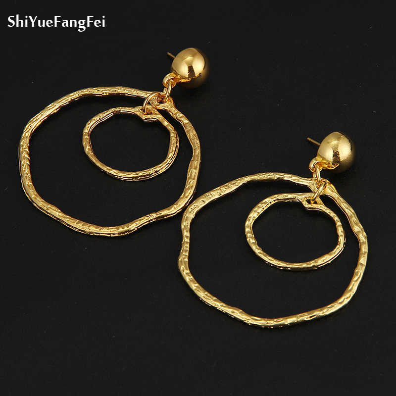 Big Gold Hoops Earrings Minimalist Thick Tube Round Circle Rings Earrings For Women Zinc Alloy Trendy Hiphop Rock Women Jewlery
