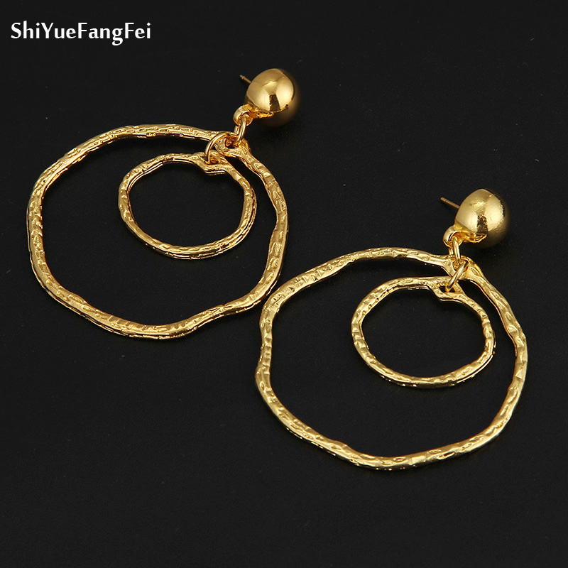 0a16edc7b Detail Feedback Questions about Big Gold Hoops Earrings Minimalist Thick  Tube Round Circle Rings Earrings For Women Zinc Alloy Trendy Hiphop Rock  Women ...