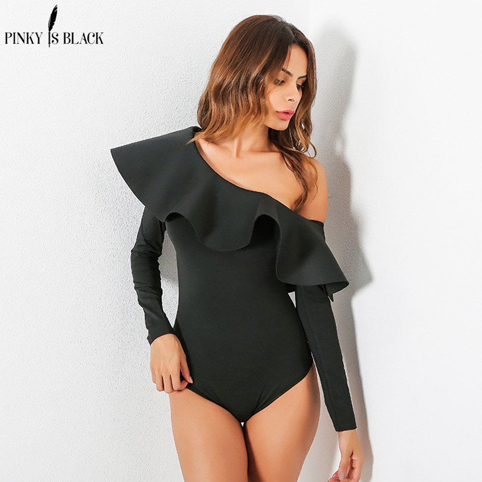 PinkyIsBlack Sexy ruffles one shoulder bodysuit Summer elegant women jumpsuit romper Bodycon party club overalls playsuit in Bodysuits from Women 39 s Clothing