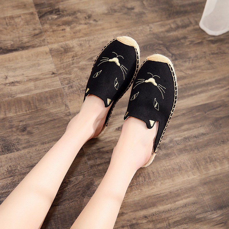 2019 Summer New Female Embroidery Cats Sippers Round Toe Lady Flat Espadrilles Slide Fisherman Shoes Slip On Women Beach Sandals (1)