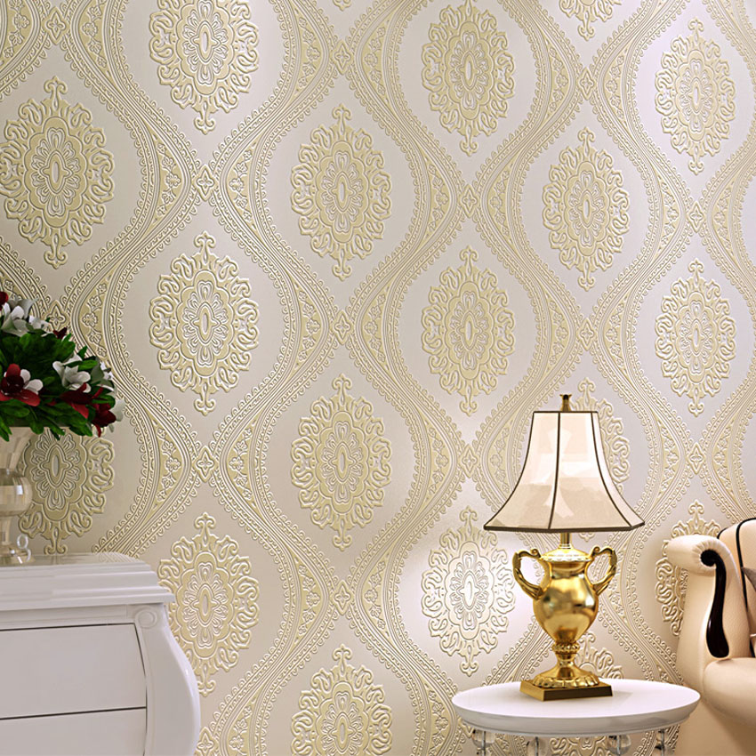 3D Luxury European Wallpaper Damask Modern Non Woven Wallpapers for Bedroom 3D Wall Murals Wallpaper Roll for Living Room 7 colors optional beige floral wallpaper damask wallpaper pvc wall murals free shipping best wallpaper qz0314
