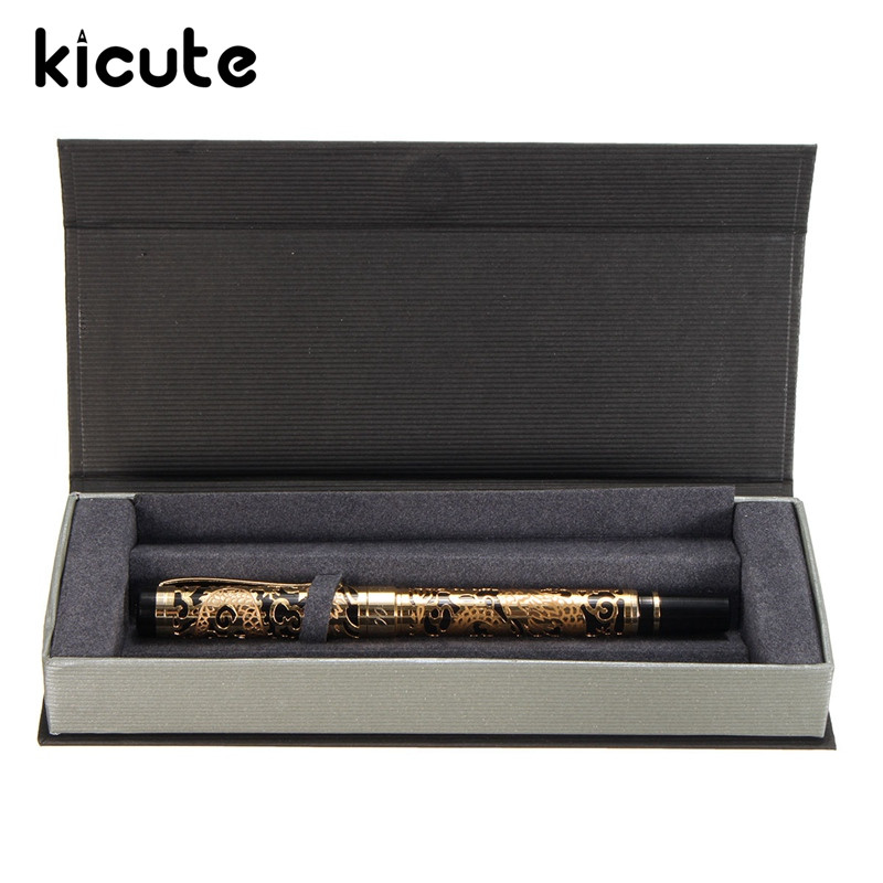 Kicute Vintage Classical Medium Nib Gold And Black Metal Fountain Ink Pen With Gift Box Writing Smoothly Office Business Supply writing business stationery crocodile 136 black and gold fountain pen with 0 5mm nib luxury metal ink pens for christmas gift