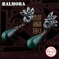 BALMORA 100 Real 925 Pure Sterling Silver Jewelry Malachite Retro Elegant Earrings For Women Lover Party