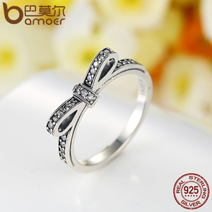 Image 2 - BAMOER 925 Sterling Silver Sparkling Bow Knot Stackable Ring Bridal Jewelry Sets Sterling Silver Jewelry Sets & More ZHS022