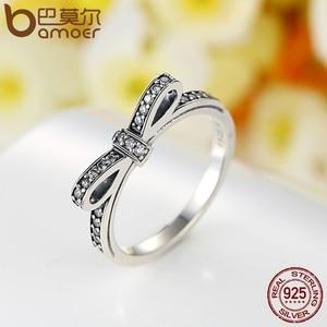 Image 2 - BAMOER сверкающий лук узел, сверкающий серебряное кольцо ювелирные изделия для невесты Ювелирные наборы из стерлингового серебра и другие ZHS022