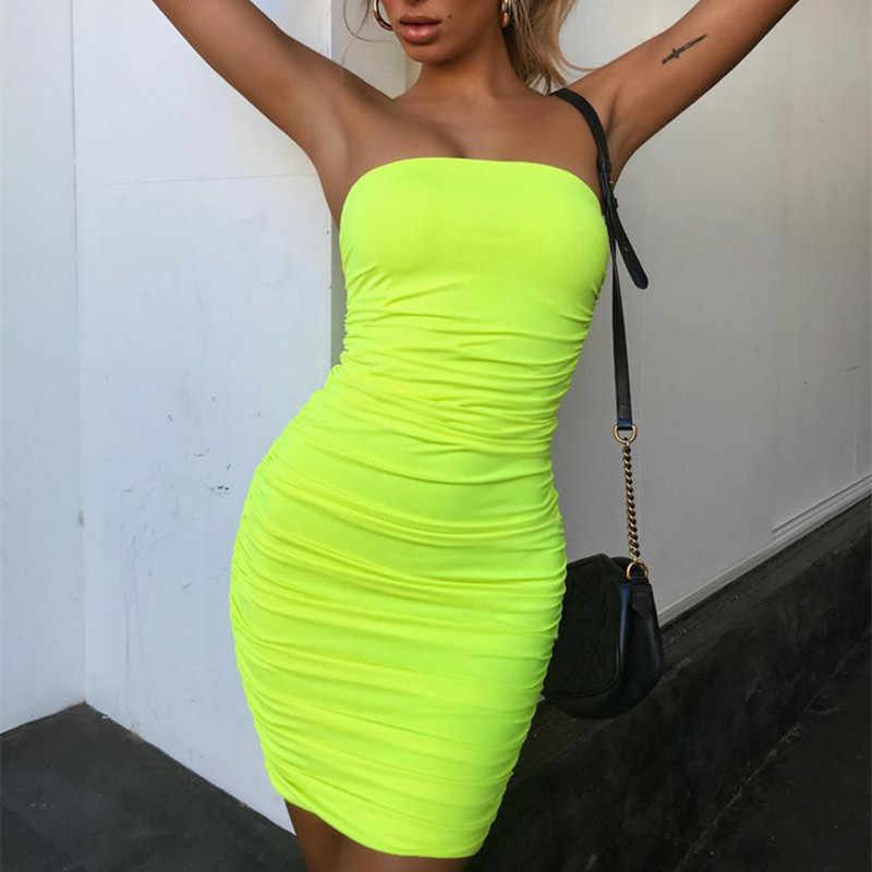 9c505e77ea8d ... BOOFEENAA Neon Yellow Ruched Strapless Midi Bodycon Dresses For Women  Fluorescent Sexy Bandage Dress Holiday Party ...