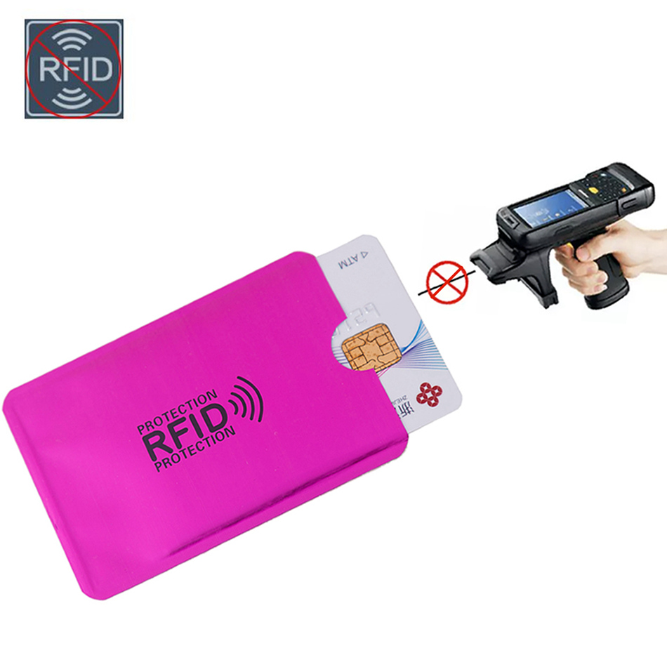 Aluminium Metal Credit Anti Rfid Wallet Blocking Reader Lock Bank Card Holder ID Bank Card Case Business Protection Red Laser