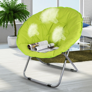 Image 2 - Large Size Moon Folding Chair Portable Couch Lazy Chair for Adult Soft Oxford Cloth Cushion Seat Office Chair Strong Bearing