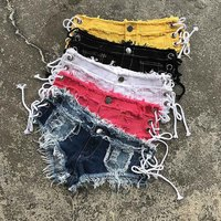 Sexy Denim Shorts Bandage Bikinis Women Ladies Tassel Low Waist Bikini Bottom Short Jeans Mini Booty Shorts Swimsuit Beach Wear