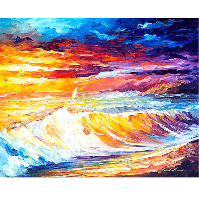 hand painted landscape abstract gold waves palette knife modern oil