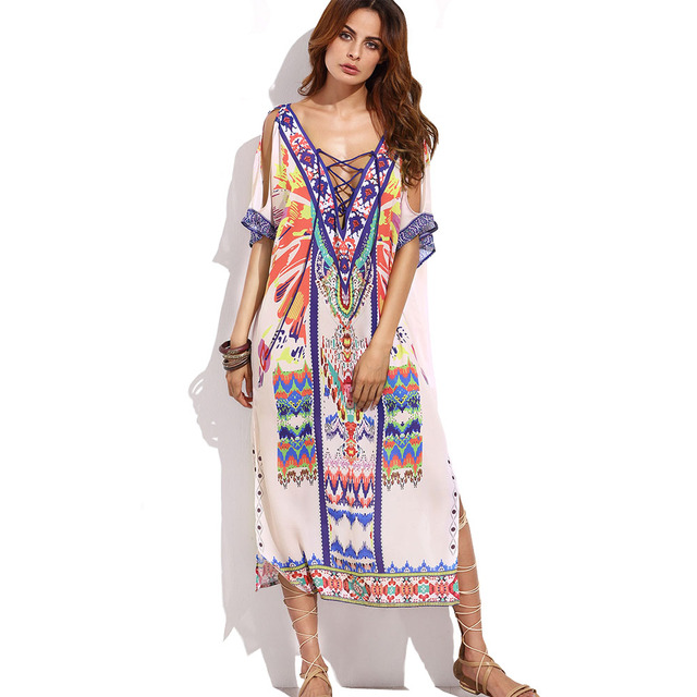 8a3d9848 US $15.37 25% OFF|Lato sukienka w kwiaty nowe panie luźne etniczne wzory  koronki Up długa sukienka z dwie wpuszczane Boho Hippie odzież duży ...