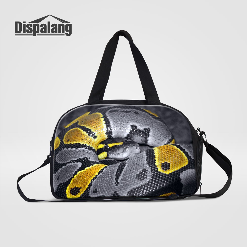 Dispalang Cool Snake Animal Prints Duffle Bags For Teenage Boys Canvas Trip Travel Bag Men Portable Outdoors Clothes Weekend Bag
